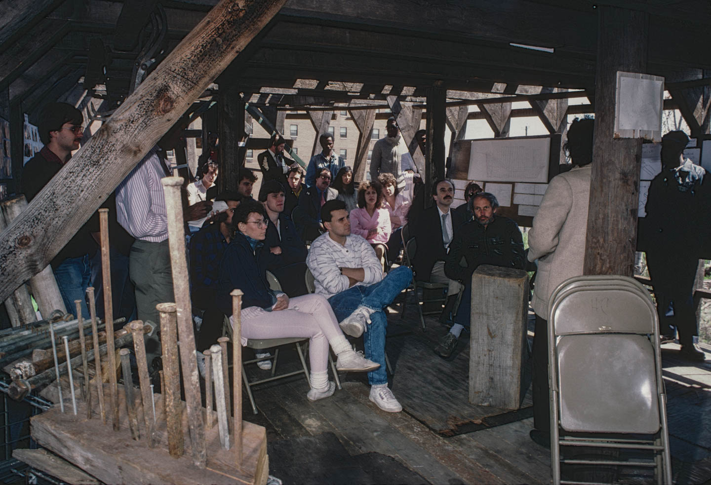 4-Kea gives a class on ark building to NJIT architecture students.  Professor Troy West is at the center, Bergen Street by 14th Ave., Newark, 1987_