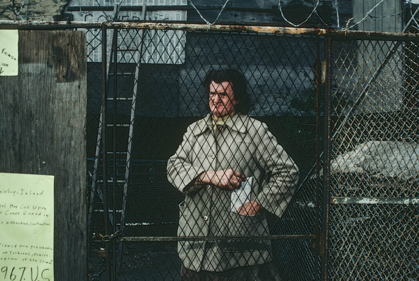 5-Kea at the back of her home facing the police, Camden Street at 14th Ave., Newark, 1987_