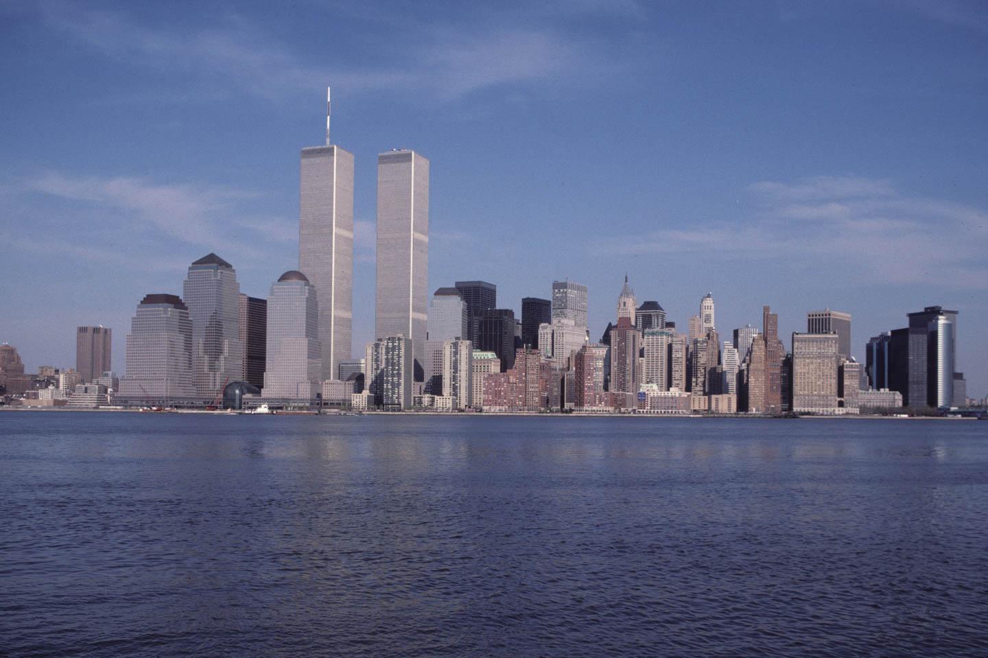 7-View of the WTC from Exchange Place, Jersey City, 1989_